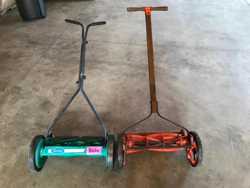 1) New Push Reel Mower, (1) Old Push Reel Mower